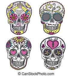set, messicano, cranio, zucchero