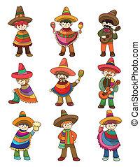 set, messicano, persone, cartone animato, icona