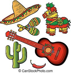 set, messicano, sombrero, maraca, chitarra, spagnolo, pinata, cactus, peperoncino