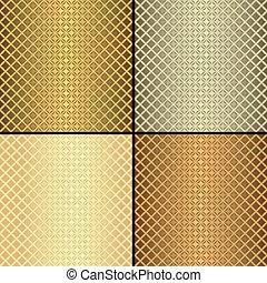 Set metallic gold, silver and bronze seamless patterns (vector)
