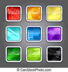 set, metallo, app, sfondi, icons., bordo