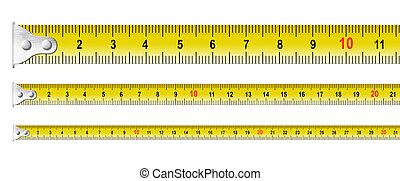set, metallo, isolato, nastri, misura