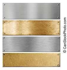 set, metallo, o, piastre, ottone, placche, chiodi, argento