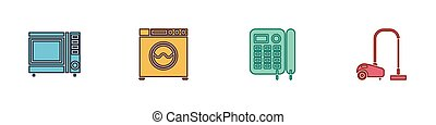 Set Microwave oven, Washer, Telephone and Vacuum cleaner icon. Vector