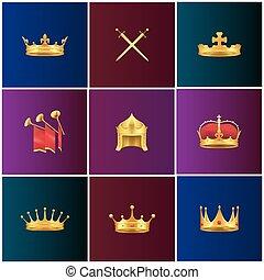 set, middeleeuws, goud, koninklijk, illustraties, attributes
