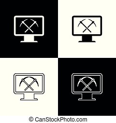 Set Mining concept with monitor and pickaxe icons on black and white background. Blockchain technology, cryptocurrency mining, digital money market. Line, outline and linear icon. Vector Illustration