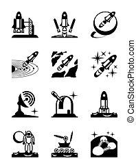 set, missie, ruimte, iconen