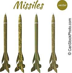 set, missile, cachi, isolato, bianco