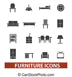 set, mobilia, vettore, icone
