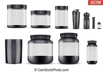 Set Mockup Sport Vitamin Containers