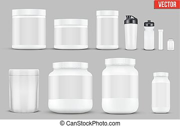 Set Mockup Sport Vitamin Containers - Big Set of Template...