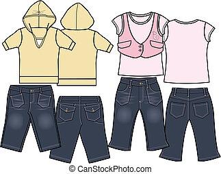 set, moda, bambini