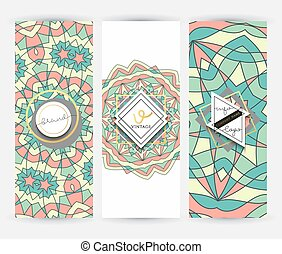 set, model, 3, mal, geometrisch, mandala, spandoek