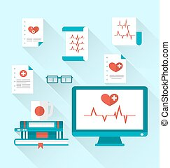 Set modern flat medical icons with paper documents with electrocardiograms