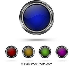 Set modern glass buttons.