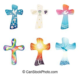 Set modern isolated Christian crosses. Cross collection with symbols of Christianity. Religious signs. VECTOR