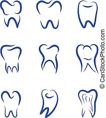 Set modern vector logo for dentistry. Logo for dental clinic. Teeth abstract sketch silhouette. Healthy tooth logo