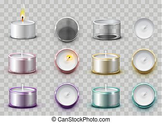 Set modern wax aromatic candle in round metal container....