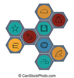 Set modern web icons color
