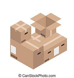 set., moderne, aflevering, dozen, vector, karton