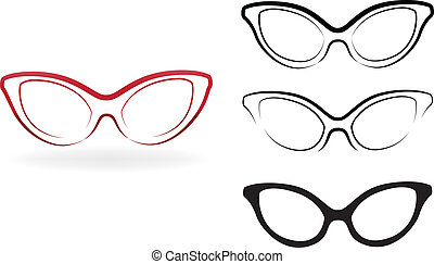 set, moderne, bril, vrijstaand, illustratie, vector, achtergrond, witte