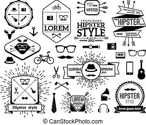 set, moderne, hipster, logo, monochroom, lijn