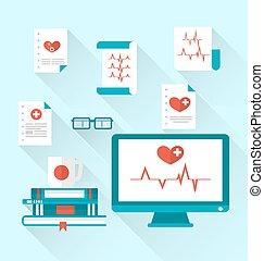 set, moderne, plat, medische pictogrammen, met, papier, documenten, met, electrocardiograms