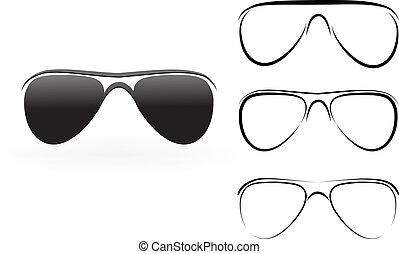 set, moderne, zonnebrillen, illustratie, vrijstaand, vector, achtergrond, witte , bril
