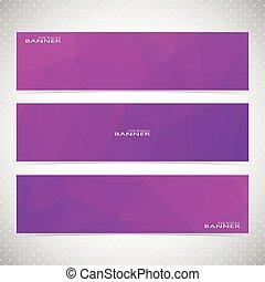 set, moderno, illustrazione, fondo., vettore, viola, bandiere orizzontali