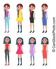 set, moderno, ragazze, brunetta, occhiate, casuale, intrecciato