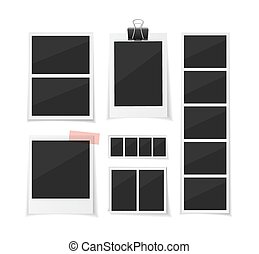 set, moment, collecteren, moments., dons, foto's, papier, vector, achtergrond., photobooth, fotos, witte , tape., sticked, retro