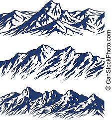 set, montagna, silhouette, serie
