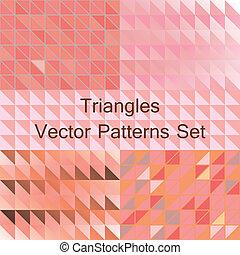 set, motieven, driehoek, seamless, vector.