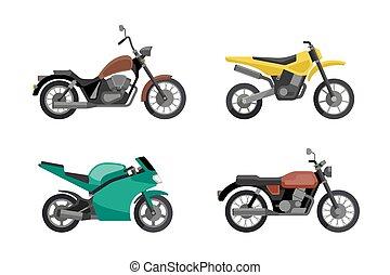 set., motocicleta, ícones