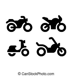 set, motocicletta, icona