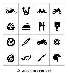 set, motocicletta, icone