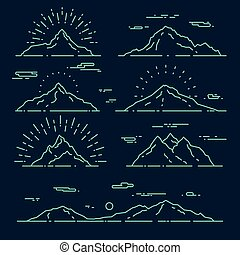 Set mountains vector illustration linear style