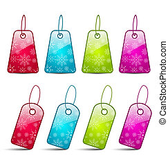 Set multicolored tags isolated on white background