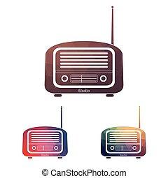 Set Multicolors vintage radio on white background - vector ...