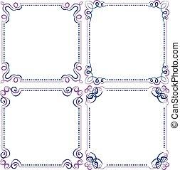 set, multilayer, vector, viooltje, blauwe , elegant, frame