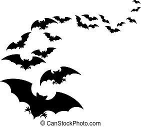 (set, multitud, murciélagos, flying)