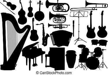 set music instrument - vector on white background
