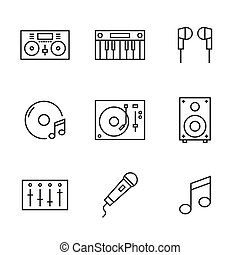set, musica, icons., dj, linea
