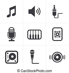 set, musica, vettore, disegno, icone