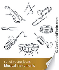 set musical instrument vector illustration isolated on white...
