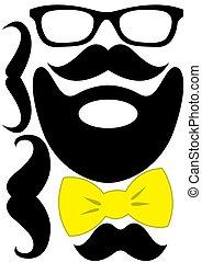 set, mustache, -, bril, accessoires, boog, feestje