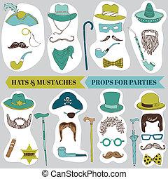 set, mustache, foto, lippen, -, maskers, vector, kraam, bril, partij hoeden