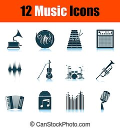 set, muziek, iconen