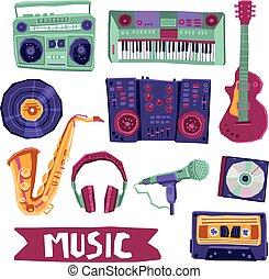 set, muziek, pictogram