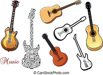 set, muzikalisch, gitaar